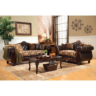 Furniture of America Marina 2-Piece Floral Fabric and Leatherette Sofa and Loveseat Set