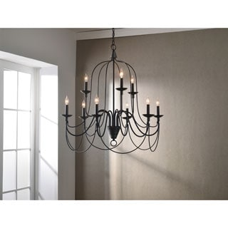 Design Craft Alma Blackened Oil Rubbed Bronze 9-light Chandelier