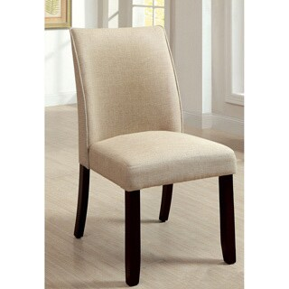 Furniture of America Lolitia Ivory Flax Fabric Dining Chairs (Set of 2)
