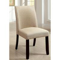 """Furniture of America Lolitia Ivory Flax Fabric Dining Chairs (Set of 2) - 19 3/4""""W X 25""""D X 37 1/2""""H (Seat Ht: 19"""", Seat Dp:"""
