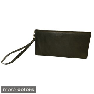Hollywood Tag Leather Large Zip-around Travel Companion Wristlet