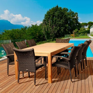 Amazonia Teak Dana 9-piece Teak/ Wicker Outdoor Dining Set