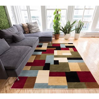Patchwork Red/ Multi Geometric Modern Color Blocks Area Rug (6'7 x 9'6)