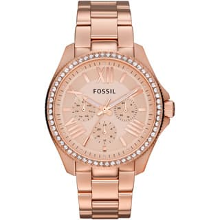Fossil Women's AM4483 'Cecile' Rosetone Stainless Steel Chronograph Watch|https://ak1.ostkcdn.com/images/products/P16143476p.jpg?impolicy=medium