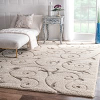 nuLOOM Soft and Plush Vine Swirls Ivory Shag Area Rug (9'2 x 12') - 9'2 x 12'