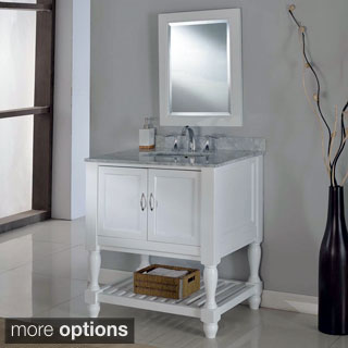 Direct Vanity 32-inch Pearl White Mission Turnleg Spa Single Vanity Sink Cabinet
