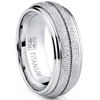 Oliveti Men's Brushed Titanium Comfort Fit Dome Band Ring