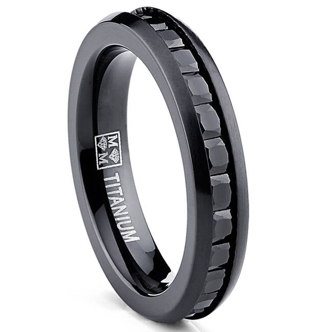 Oliveti Women's Black Plated Titanium Princess-cut Cubic Zirconia Comfort Fit Eternity Ring|https://ak1.ostkcdn.com/images/products/P16148188L.jpg?impolicy=medium