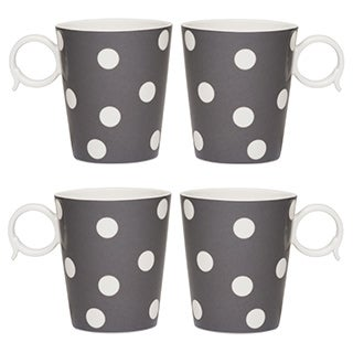 Freshness Mix & Match Grey Dots 12-ounce Mugs (Set of 4)