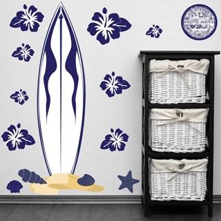 PEEL & STICK BIG Blue Surfboard Wall Decal