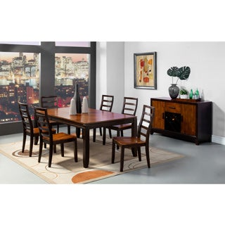 Furniture of America 'Isa' Acacia/ Espresso 7-piece Extending Dining Set