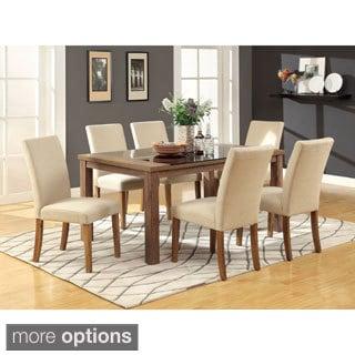 Furniture Of America Sundrey Transitional Light Oak 7 Piece Contemporary Dining  Set