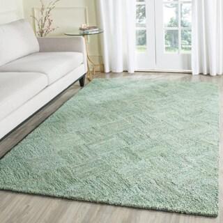 Safavieh Handmade Nantucket Abstract Green/ Multi Cotton Rug (8' x 10')