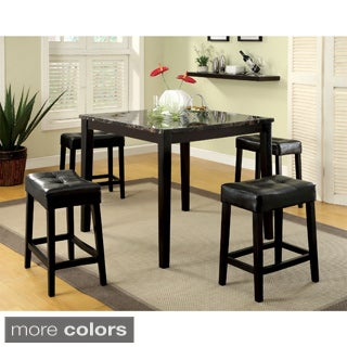 Furniture of America Shelzy 5-piece Faux Marble Counter Height Pub Set