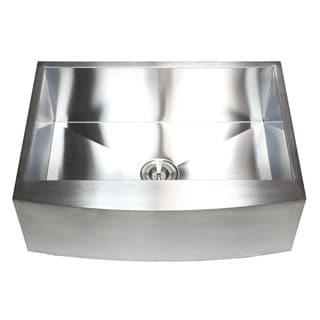Farmhouse 33-inch Stainless Steel 16-gauge Single-bowl Curve Apron Kitchen Sink Set