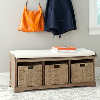 Safavieh Lonan Grey Wash/ White Storage Bench