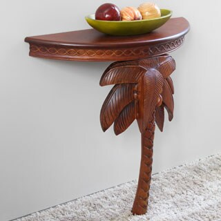 International Caravan Windsor Collection Carved Hardwood Exotic Palm Tree Wall Table