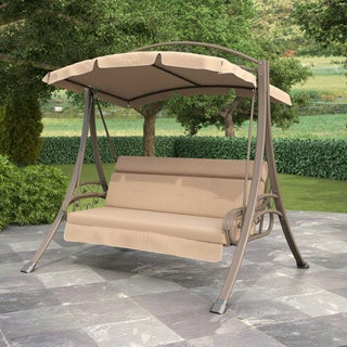 CorLiving Nantucket Beige Arched Canopy Patio Swing