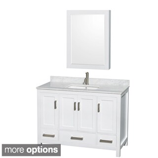 Wyndham Collection Sheffield White Wood 1-hole 48-inch Single Vanity