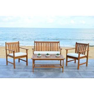 Safavieh Burbank Brown Acacia Wood 4-piece Outdoor Furniture Set