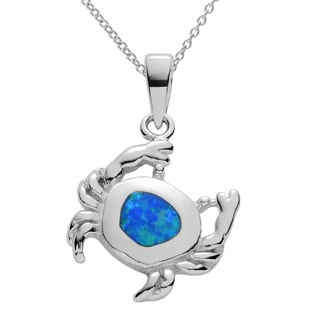 Journee Collection Sterling Silver Opal Crab Pendant