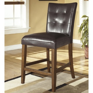 Lacey Medium Brown Upholstered Bar Stool (Set of 2)