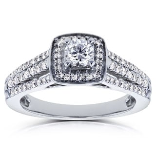 Annello by Kobelli 14k White Gold 1/2ct TDW Round Diamond Engagement Ring