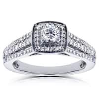 Annello by Kobelli 14k White Gold 1/2ct TDW Round Diamond Engagement Ring