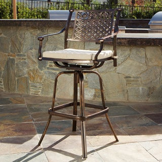 Sebastian Cast Aluminum Barstool with Cushion by Christopher Knight Home