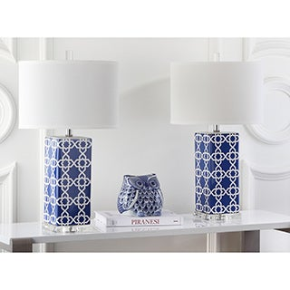 Safavieh Lighting 27-inch Navy Quatrefoil Table Lamp (Set of 2)