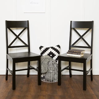Black Solid Wood Set of 2 Dining Chairs