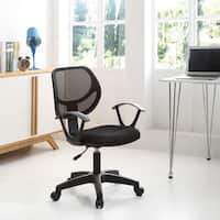Swiveling Black Plastic Microfiber Mesh Mid-back Task Chair