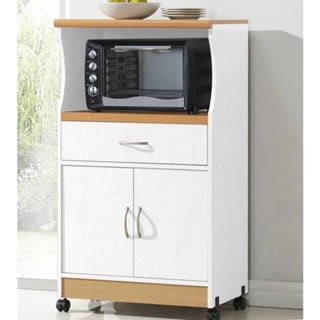 Microwave 2-door Wood Cart Stand