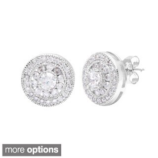 La Preciosa Sterling Silver Cubic Zirconia Stud Earrings