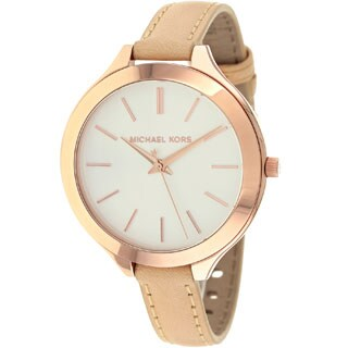 Michael Kors Women\u0026#39;s MK2284 Runway Slim Beige Strap Watch