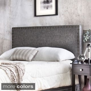 Furniture of America Adjustable Nailhead Trim Flax Upholstered Headboard|https://ak1.ostkcdn.com/images/products/P16256052y.jpg?impolicy=medium