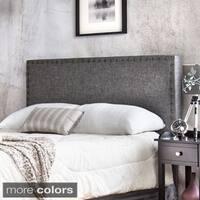 Furniture of America Adjustable Nailhead Trim Flax Upholstered Headboard