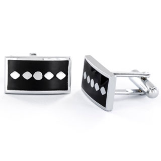 Men's Black Enamel and Silvertone Dotted Rectangle Cuff Links