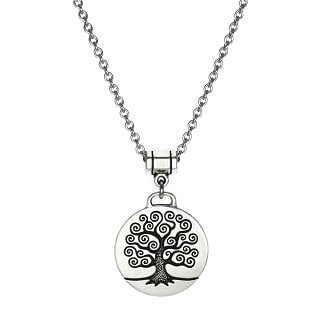 Jewelry by Dawn Unisex Round Pewter Tree of Life Stainless Steel Chain Necklace