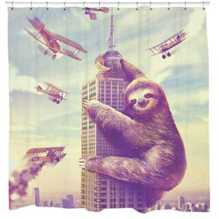 Multi-colored Slothzilla Shower Curtain