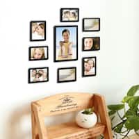 Adeco Decorative Black Wood 10-piece Photo Frame Set for 8 - 4 x 6-inch, 1 - 6 x 8-inch, and 1 - 8 x 12-inch Pictures