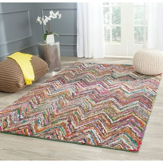 Safavieh Handmade Nantucket Abstract Chevron Blue/ Multi Cotton Rug (9' x 12')