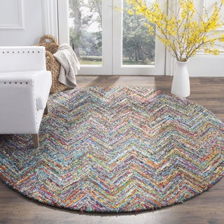 Safavieh Handmade Nantucket Abstract Chevron Blue/ Multi Cotton Rug (6' x 6' Round)