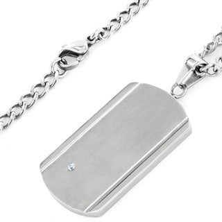 Crucible Men's Stainless Steel Brushed/ Polished Cubic Zirconia Dog Tag Pendant Necklace