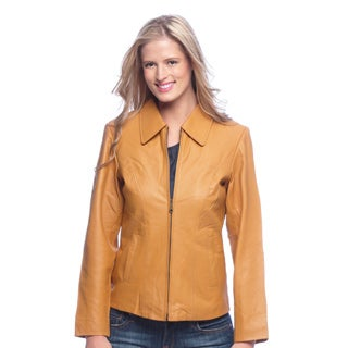 Women's Leather Classic Zip-front Jacket with Zip-out Liner