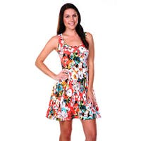 White Mark Women's Flower Fusion Fit-and-Flare Dress