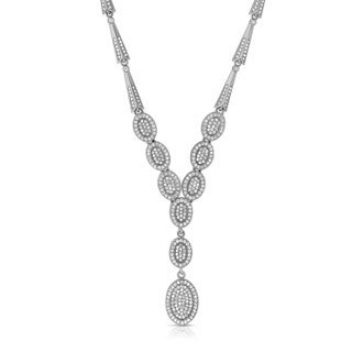Collette Z Sterling Silver Pave-set Cubic Zirconia Oval Drop Necklace