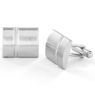 Silvertone Polished Rectangle Cuff Links