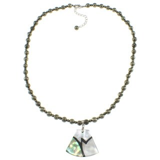 Pearlz Ocean Abalone/ White Shell and Pyrite Bead Necklace Jewelry for Womens