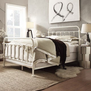 Giselle Antique White Graceful Lines Victorian Iron Metal King-Sized Bed by iNSPIRE Q Classic